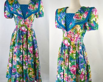 1980s Bright Floral Print Dress by Go Vicki, Square Middy Collar, Large Flower Print
