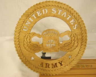 US ARMY 82nd AIRBORNE Scroll Saw Plaque