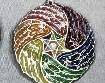 Small Seraphim Wing with Rainbow Hues angel celestial Hanukkah Christmas Gift