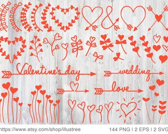 144 heart flower overlays, red and white clip art, wedding invitations, cardmaking, scrapbooking, commercial use, PNG, EPS, SVG, download