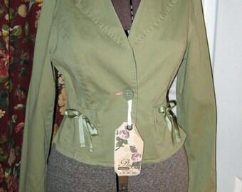 Vintage Sage Green Plugg Jacket Size M with Ribbon Trim