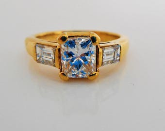 18K Gold Princess Cut Diamond Engagement Ring By Gazdar India. Three Stone Past Present Future Commitment Ring With Appraisal Certificate