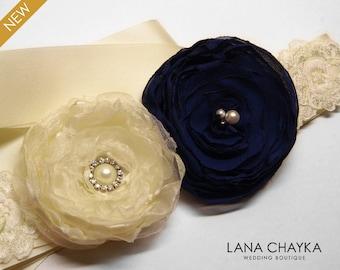 Navy Blue Ivory Flower Girl Sash Navy Blue Ivory Wedding Belt Flower Rustic Wedding Sash Dark Blue Ivory Flower Belt Flower Girl Dress Sash