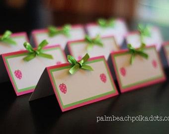 10 Strawberry Shortcake Birthday Food Tents Food Labels Iby PalmBeachPolkadots.com
