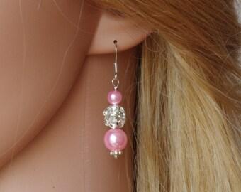 Light Pink Pearl Earrings Pink Bridesmaid Earrings Flowergirl Earrings Bridesmaid Gift  Pearl Earrings Bridesmaids Jewellery Christmas gift