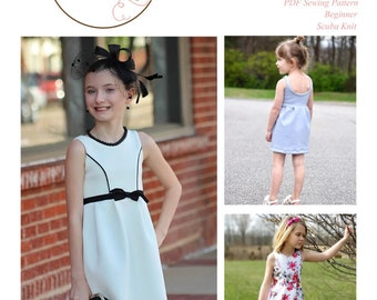 The Madeline Dress an elegant and timeless look in an easy-to-sew, beginner friendly PDF Pattern made in knit, for girls sizes 2T to 16
