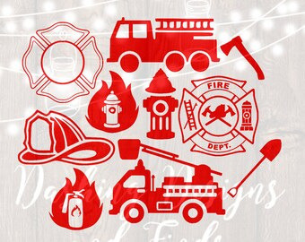 DIGITAL DOWNLOAD svg png firefighter fire truck fire badge fire hydrant fire hat recue first responder silhouette cricut monogram decal