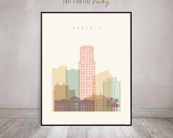 Phoenix print, Poster, Wall art, Phoenix skyline, Arizona cityscape, City poster, Typography art, Home Decor, Digital Print ArtPrintsVicky