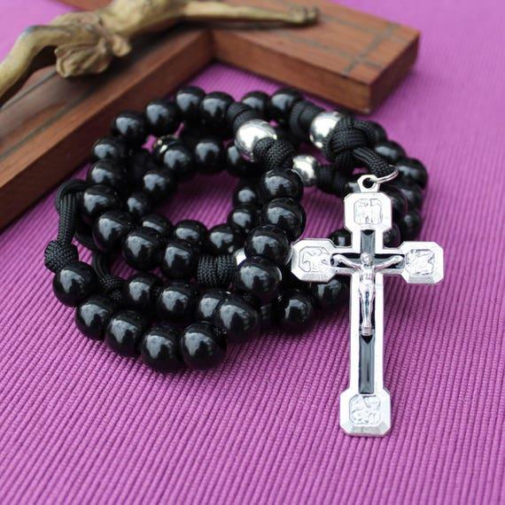 Via Crucis Black Paracord Rosary