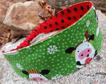 Christmas Cow Headband, Reversible Polka Dot Headband