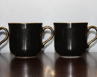 Vintage Espresso Cup, Black Espresso Cup with Gold Handle,Porcelain Cup, Set of 4