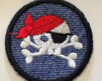 Baby Bandana Pirate Skull w/ Eye patch  Patch  /  Merit Badge