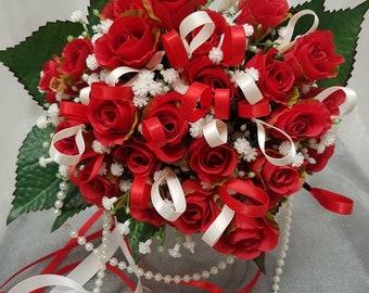 Wedding bouquet handmade bespoke bride bridesmaid flowers roses red roses