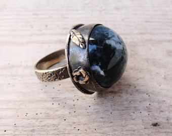 Moss Agate Ring Copper Brass Bezel Ring Stone jewelry
