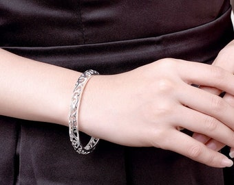 925 Sterling Silver Filled 7MM Lovely Hollow Filigree Bracelet Bangle