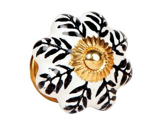 Ceramic Cabinet Knob in a Black & White Pattern