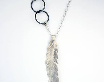 Silver Necklace - Feather Necklace - Bohemian Necklace - Long and Layerd Necklace - Free Spirit Necklace - Sterling Silver Jewelry  n2075