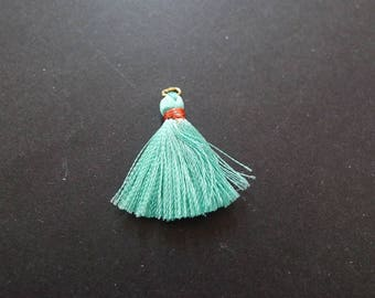 tassel charms fabric turquoise blue and gold 25mm