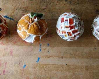 Mosaic Ornament, Holiday Ornament, Christmas Ornament, Orange Red Ornament, Mosaic Balls, Mosaic Decor