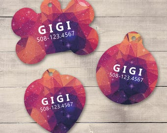 Pink Purple Galaxy Pet ID Tag, Geometric Galaxy Pet Tag, Custom Pet Tag, Personalized Dog Tag, Dog ID Tag, Dog ID, Pet Tag, Cat Tag (0021)