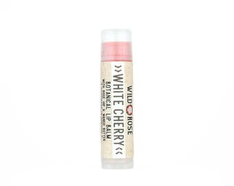 Lip Balm Natural WHITE CHERRY with Organic White Cherry .15 oz stocking stuffer