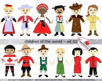 Children of the World (Set 02) Digital Clip Art: France Germany Brazil Australia China Canada Teaching Travel Clipart