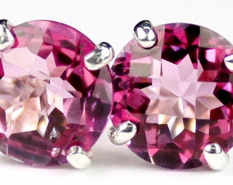 Pure Pink Topaz, 925 Sterling Silver Post Earrings, SE112