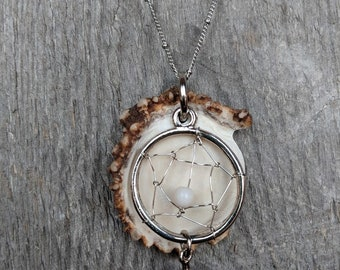 Deer antler jewelry, natural jewelry, bone necklace, rustic necklace, antler necklace, long necklace, large statement jewelry, boho necklace