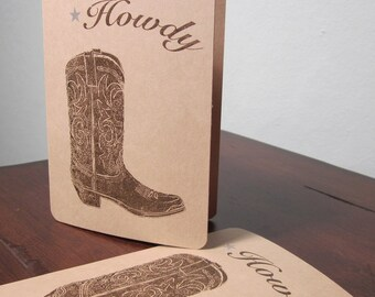 Howdy Cowboy Boot -SALE- 12-Pack Gocco Screen-Printed Art Cards