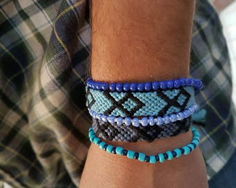 Friendship bracelet . Handwoven for Men Friendship Bracelet Aztecs. Black and Light Blue Tile