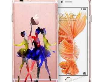BALLERINA Smartphone transparent TPU Case with motif fit for Smartphone models Huawei iphone SAMSUNG Cartoon Comic colorful ballerinas M12