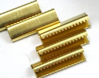 20 pcs 6x19 mm Raw Brass Ribbon Crimp Ends, Raw Brass Ribbon Crimp End, Ribbon Crimp Ends cap,, Findings R635 1790