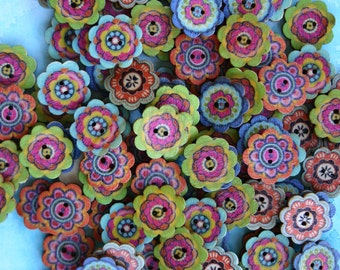 Flower Wood Buttons - Scrap booking - Sewing - Card making - Craft supplies