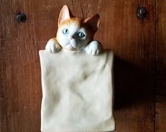 Vintage Ceramic Cat Music Box, Mann Japan, Vintage Music Box