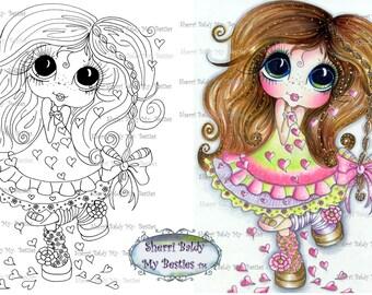 INSTANT DOWNLOAD Digital Digi Stamps Big Eye Big Head Dolls IMG215  My Besties By Sherri Baldy