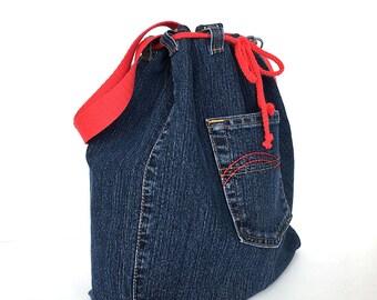 Drawstring bucket bag, Denim shoulder bag, Jean crossbody bag,Recycled side purse,Teens travel bag, Veagn fashion, Denim weekend tote purse