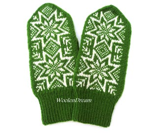 Merino wool men's mittens,warm winter gloves,Scandinavian snowflake men's mittens,Norwegian Christmas gift for Him,Nordic stars arm warmers
