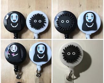 kawaii, ghibli, spirited away, soot sprite, no face, Totoro retractable badge reel stethoscope id name tag holder