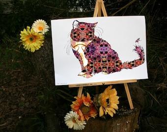 Cat Art, Cat Lover, Cat Gift, Catsmus, Art Print, Kitty,  - 13x19 or 8.5x11 open edition - Wall Art