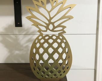 Wooden Pineapple Laser Cutout, Summer Decor Wood Sign, Gold Pineapple Party Decor, Summer Party Decor