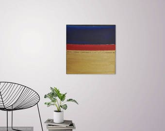 The Red Line : Original Abstract Art Modern Minimalistic Block Painting on Canvas