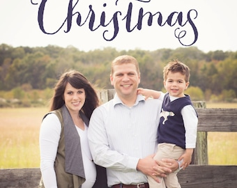Simple Merriest Christmas Navy Christmas Cards-FREE SHIPPING or DIY printable