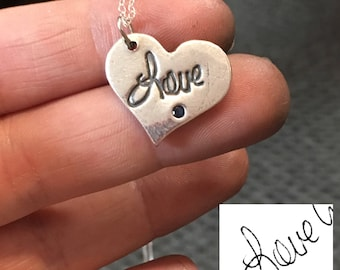 Handwriting Charm, Heart Handwriting, Real Handwriting Jewelry, Memorial Jewelry, Handwriting Jewelry, Handwriting Necklace, Sterling Silver