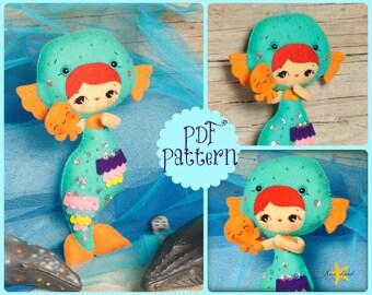 PDF. Mermaid girl with octopus puppet. Plush Doll Pattern, Softie Pattern, Soft felt Toy Pattern.
