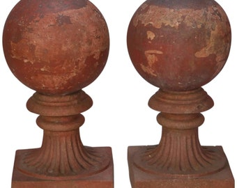 Large Round Terra Cotta Finial on Stand