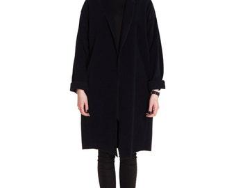 Dark Blue Wool Coat / Light Minimalist Cardigan / One Size Handmade Jacket / Long Spring Wool Coat / Oversize Dark Blue Cardigan