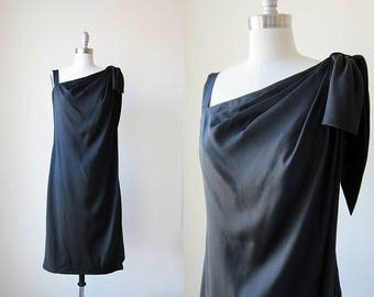 1960s vintage black little black short malcolm star sleeveless bow evening cocktail dress s