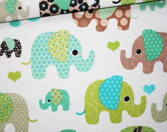 Elephant, 100% cotton fabric printed 50 x 160 cm, turquoise, Brown, green elephants on white background