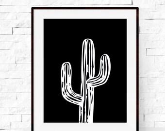 A3 Cactus Print - Cactus Plant Garden Art Print - Cactus Art Print - Home Decor - Botanicals Art - Black and White Wall Art - Nursery Decor
