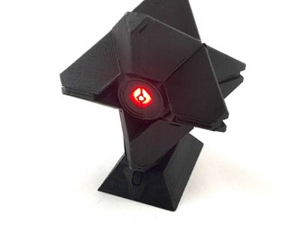 Destiny Ghost 3D Printed w/LED - Solid Black (with display stand)